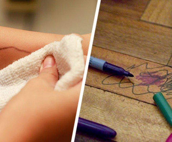 удаление фломастера с кожи рук