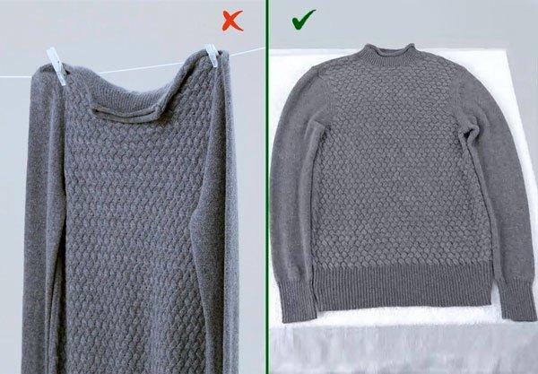 Сушить свитер нужно горизонтально